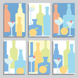 A set of brochures with bottles of alcohol and cocktails stock illustration