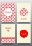 Set of brochures with ethnic ornament pattern in white red color. S. Vector illustration. From collection of Balto-Slavic ornaments Stock Images