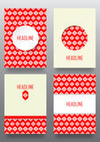 Set of brochures with ethnic ornament pattern in white red color. S. Vector illustration. From collection of Balto-Slavic ornaments Royalty Free Stock Photo