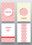 Set of brochures with ethnic ornament pattern in white red color. S. Vector illustration. From collection of Balto-Slavic ornaments Stock Illustration