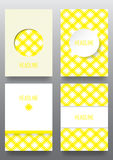 Set of brochures with ethnic ornament pattern in white yellow co. Lors. Vector illustration. From collection of Balto-Slavic ornaments Stock Photo