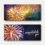 Set 2 brochures festive design with fireworks. Bright background printing Stock Images