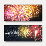Set 2 brochures festive design with fireworks. Bright background printing Royalty Free Stock Images