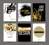 A set of brochures with golden hand-drawn design elements. Vector brochure templates, posters, flyers, brand. Golden Stock Image