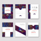 Set of brochures in Lines Pattern Style. Beautiful frames and backgrounds. Company Style for Brandbook and Guideline Royalty Free Stock Photo
