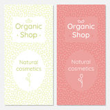 A set of brochures for an organic cosmetics store. Minimalistic leaves on the background. Flower as a logo Stock Photography
