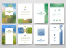 Set of brochures in poligonal style on Agriculture Stock Image