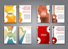 A set of brochures with polygonal musical instruments. A large set of flyers (poster) for printing and advertising, front and back page, with different polygonal Stock Photography