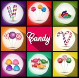 Set of brochures with sweets. Backgrounds with ice cream, candies, lollipop. Royalty Free Stock Photos