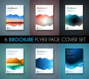 Set of 6 Brochures templates, Flyer Designs or Depliant Covers for business. Presentation and magazine covers, annual reports and marketing generic purposes Stock Photo