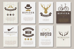 Set of brochures in vintage hipster style Stock Photography