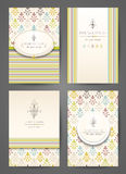 Set of brochures in vintage style. Creative cards. Royalty Free Stock Image