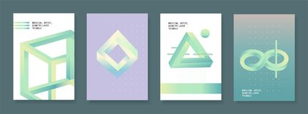 Set of brochures in vintage style with optical illusion effect. Vector design templates. Stock Image