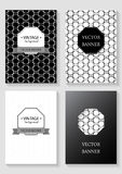 Set of brochures in vintage style. Vector design templates.  Retro Patterns for Placards, Posters, Flyers and Banner Designs Royalty Free Stock Photos