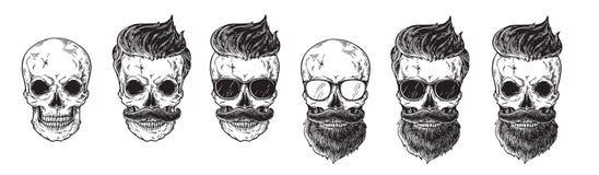 Set brodaci mężczyzna stawia czoło, modnisie z różną ostrzyżenie wąsów brod czaszką Sylwetka emblematów ikon etykietki ilustracji