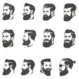 Set brodata mężczyzna głowa odizolowywająca na białym tle wyobrażalny ilustracja wektor