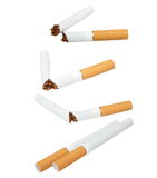 Set broken cigarettes isolated on white Stock Photo