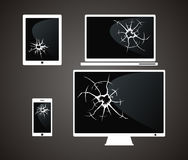 Set of broken device. black background. Royalty Free Stock Photo