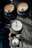 Set of Broken Gauges - Black Leaf Chemical Company - Louisville, Kentucky. A set of broken gauges viewed inside the abandoned Black Leaf Chemical Company in Stock Photos