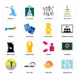 Set of broken glass, book now, hiker, advisor, bag chips, fire hydrant, shotgun, earthquake, waterfall icons. Set Of 16 simple  icons such as broken glass, book Stock Photo