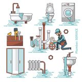 Set of the broken home facilities, washbasin, toilet, cabin, washing machine, radiator, clog. Of pipes. Plumbing service. Isolated background stock illustration