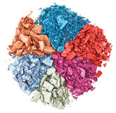 Set of broken multicolor eye shadow stock images