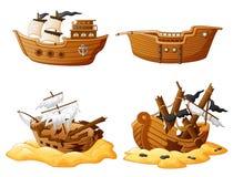 Set of broken pirate ship. Illustration of set of broken pirate ship Royalty Free Stock Images