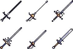 Set broni ikony w piksla stylu ilustracja wektor
