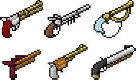 Set broni ikony w piksla stylu royalty ilustracja