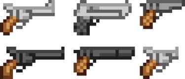 Set broni ikony w piksla stylu ilustracji