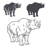 A set of brontotherium's stencils Royalty Free Stock Images