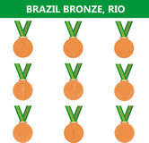 Set of bronze medals icons. Brazil. Summer. Vector illustration Stock Photo