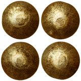 Set of bronze rivet heads stock photos