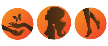 Set of bronze silhouettes Stock Photo