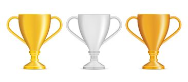 Set of bronze, silver and gold trophies isolated on white backgr. Ound Stock Images