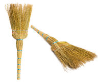 Set Brooms isolated on white background Stock Photography