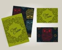 Set broszurki w doodle ornamentacyjnym stylu z ornamentacyjną sową Piękne ramy i tła Zdjęcie Royalty Free