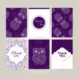 Set broszurki w doodle ornamentacyjnym stylu z ornamentacyjną sową Piękne ramy i tła Zdjęcie Stock
