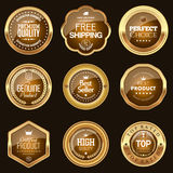 Set of brown badges. Set of luxury brown badges Royalty Free Stock Photography