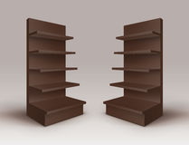 Set of Brown Blank Empty Exhibition Trade Stands Shop Racks with Shelves Storefronts  on Background Stock Photos