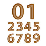 Set of Brown Chocolate Numbers 0-9. Isolated Royalty Free Stock Image