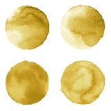 Set of brown, coffee color watercolor hand painted circle isolated on white.  Royalty Free Stock Images