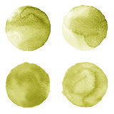 Set of brown, coffee color watercolor hand painted circle isolated on white. Illustration for artistic design. Round stains, blobs Royalty Free Stock Photos