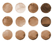 Set of brown, coffee color watercolor hand painted circle  on white. Illustration for artistic design. Round stains, blobs. Set of colorful watercolor hand Stock Image