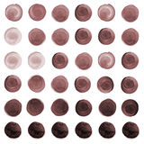 Set of brown, coffee watercolor circles. Set of colorful watercolor hand painted circle isolated on white. Watercolor Illustration for artistic design. Round Royalty Free Stock Images