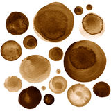Set of brown, coffee watercolor circles. Set of colorful watercolor hand painted circle isolated on white. Watercolor Illustration for artistic design. Round Stock Images