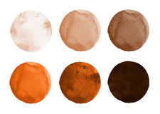Set of brown, coffee watercolor circles. Set of colorful watercolor hand painted circle isolated on white. Watercolor Illustration for artistic design. Round Stock Photography