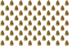 Set of brown cones checkerboard pattern diagonal row on white background card design. Background Royalty Free Stock Photo