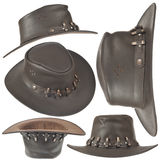 Set of brown cowboy hat Stock Images