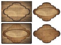 Set brown drewniany signboard, talerze, deski i Zdjęcie Stock